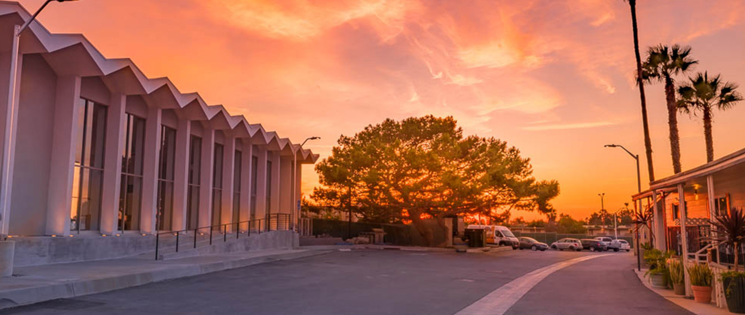 Sunset over North entrance