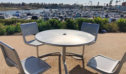 Chairs and table overlooking the marina
